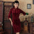 3/4 Sleeve Knee Length Bodycon Velvet Cheongsam Qipao Dress