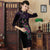 3/4 Sleeve Floral Print Knee Length Velvet Cheongsam Qipao Dress