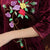 Half Sleeve Floral Embroidery Knee Length Velvet Cheongsam Qipao Dress