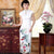 Tea Length Key Hole Neck Floral Silk Blend Cheongsam Chinese Dress