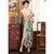 Key Hole Neck Full Length Modal Floral Cheongsam Chinese Dress