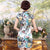 Elegant Silk Blend Knee Length Floral Cheongsam Evening Dress