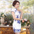 Blue & White Porcelain Pattern Silk Blend Cheongsam Evening Dress