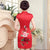 Knee Length Phoenix & Peony Pattern Silk Blend Cheongsam Evening Dress