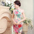 Knee Length Floral & Birds Pattern Silk Blend Cheongsam Evening Dress