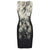 Snake Pattern Boat Neck Knee Length Pencil Dress