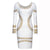 Long Sleeve Knee Length Stretchy Pencil Dress with Gilded Appliques