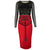 Illusion Sleeve Skull Pattern Knee Length Slim Stretchy Pencil Dress
