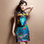 Cap Sleeve Lace Neck Silk Blend Cheongsam Chinese Dress