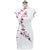 Floral Embroidery Fancy Cotton Knee Length Cheongsam Chinese Dress