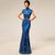 Cheongsam Top Full Length Mermaid Evening Dress with Lace & Sequins