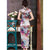 Magnolia Pattern Real Silk Full Length Cheongsam Chinese Dress