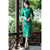 3/4 Sleeve Floral Embroidery Tea Length Wool Cheongsam Chinese Dress