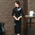 3/4 Sleeve Lace Neck Tea Length Cheongsam Chinese Dress