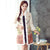 Chinese Style Long Floral Wadded Coat with Fur Edge