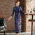 3/4 Sleeve Floral Print Tea Length Wadded Cheongsam Chinese Dress