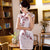 Knee Length Floral Embroidery Fancy Cotton Cheongsam Day Dress