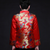 Dragon Pattern Satin Chinese Groom Suit with Strap Buttons