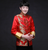 Gold Dragon Pattern Satin Chinese Groom Suit with Strap Buttons