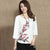 Wintersweet Embroidery 3/4 Sleeve Signature Cotton Chinese Style Blouse