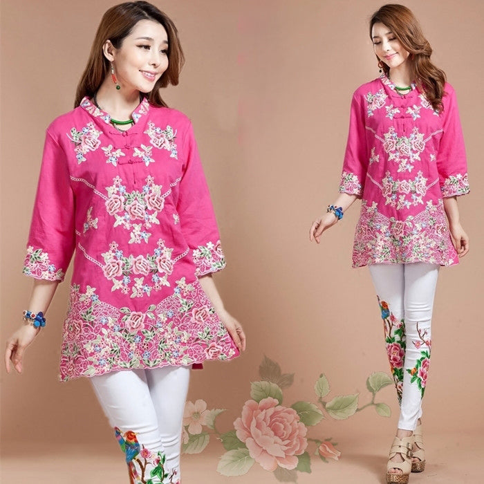 get cheap latest trends of 2019 buying new Floral Embroidery V Neck Mandarin Sleeve Traditional Chinese Blouse
