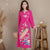 Peakcock & Floral Embroidery Long Sleeve Tea Length Chinese Dress