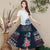 Traditional Chinese Style Floral Embroidery Expansion Pleated Skirt
