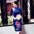 Half Sleeve Floral Embroidery Knee Length Velvet Cheongsam Chinese Dress