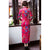 3/4 Sleeve Full Length Floral Velvet Cheongsam Chinese Dress