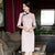 3/4 Sleeve Knee Length Floral Lace Cheongsam Chinese Dress