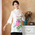 Mandarin Sleeve Peony Print Traditional Cheongsam Top Chinese Blouse