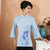 Mandarin Sleeve Lotus Print Traditional Cheongsam Top Chinese Shirt
