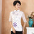 Floral Embroidery Illusion Sleeve Traditional Cheongsam Top Chinese Shirt