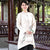 Signature Cotton Chinese Style Coat with Lotus Chinese Painting