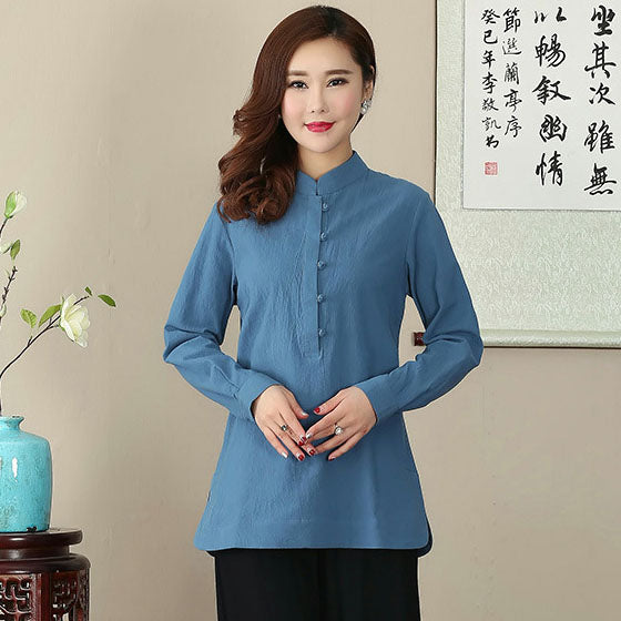 great fit 50% off great fit Signature Cotton Mandarin Collar Traditional Chinese Blouse