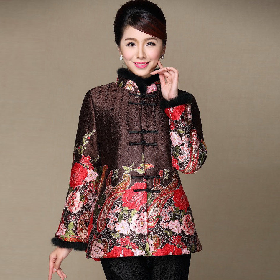 bd2b47361 Fur Collar & Cuff Floral Linen Chinese Style Women's Wadded Coat ...