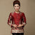 Round Neck 3/4 Sleeve Floral Linen Chinese Style Women's Coat