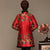 Fur Collar & Cuff Floral Silk & Linen Chinese Style Women's Wadded Coat