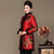Floral Silk & Linen Chinese Style Long Women's Wadded Coat