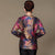 Round Neck Long Sleeve Floral Linen Chinese Style Women's Coat