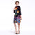Dragon & Phoenix Pattern High Neck 3/4 Sleeve Oriental Style Floral Dress