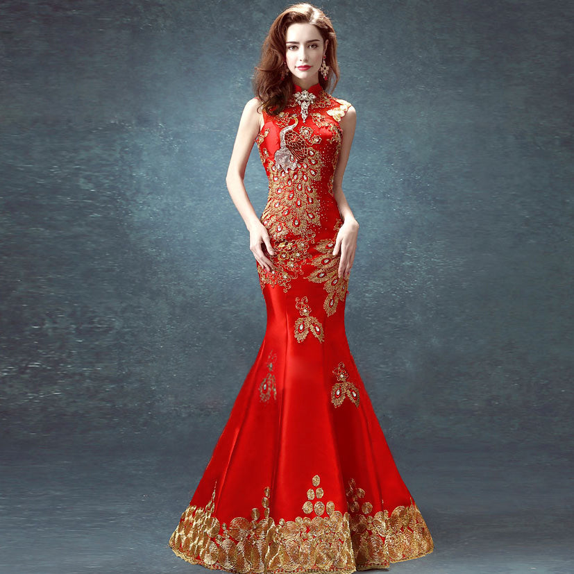 Chinese Wedding Dress.Phoenix Appliques Halter Top Full Length Mermaid Chinese Wedding Dress