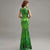 Illusion Neck Cheongsam Top Mermaid Evening Dress with Floral Appliques