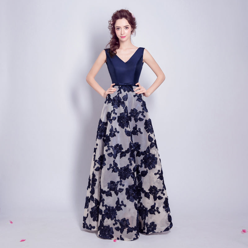 Deep V Neck A-line Evening Dress with Floral Lace Skirt – IDREAMMART 85ab3c58a