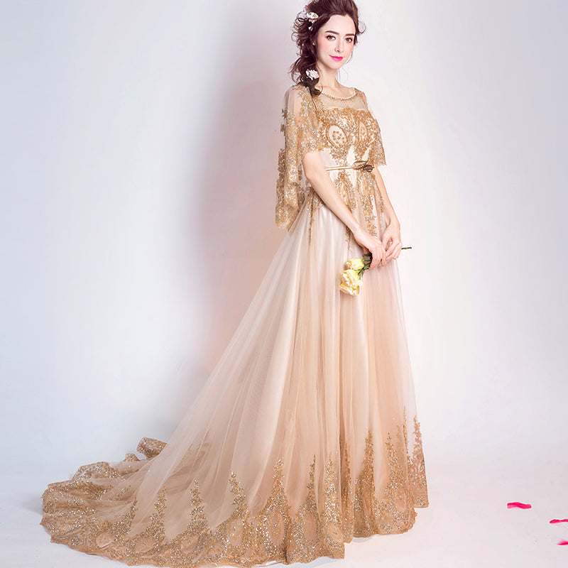 Indian Style Wedding Gown: India Style Wedding Dress With Lace Shawl Gold Sequins