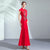 Floral Embroidery Mermaid Cheongsam Chinese Wedding Dress Evening Gown