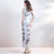 Half Sleeve Floral Brocade Full Length Cheongsam Evening Dress