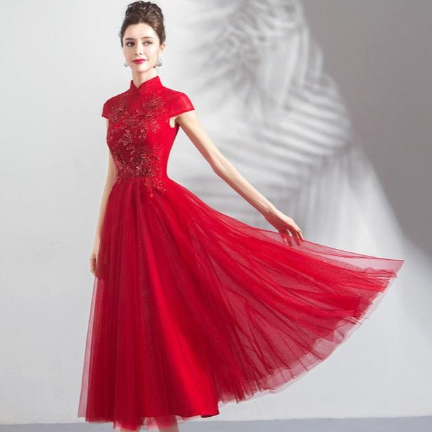 163ffc952 Floral Appliques Cheongsam Top Tulle Skirt Tea Length Prom Dress ...