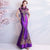 Floral Sequins Cheongsam Top Full Length Mermaid Evening Dress