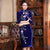 Key Hole Neck Half Sleeve Floral Velvet Cheongsam Chinese Dress